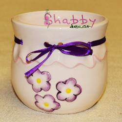Vas Ceramica cu flori si fundita mov