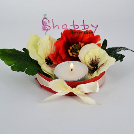 Aranjament Flori artificiale - Maci - cu Lumanare