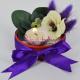 Aranjament Flori artificiale si Puf mov cu Lumanare