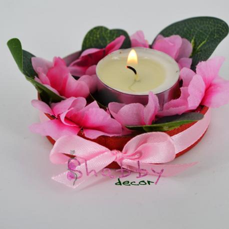 Aranjament Flori artificiale - Flori de Cires - cu Lumanare
