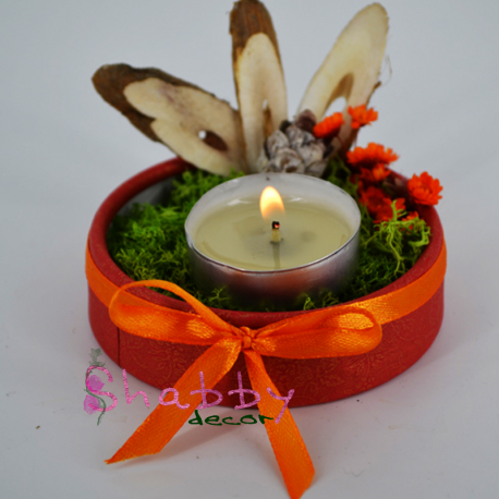 Aranjament viu - Licheni Con brad si Flori uscate - cu Lumanare