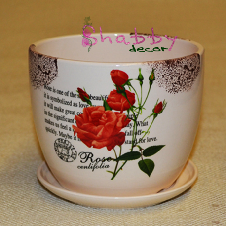 Ghiveci ceramica cu model Trandafiri