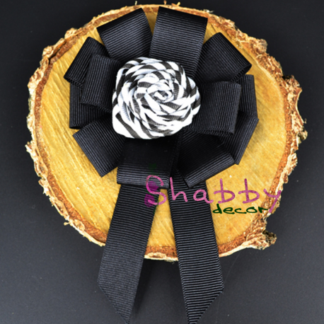 Brosa-Papion Handmade Camasa Black and White Flower