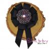 Brosa-Papion Handmade Camasa Floare Stilizata cu Strasuri colorate