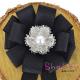 Brosa-Papion Handmade Camasa Floare Dantelata cu Strasuri si Perla