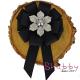 Brosa-Papion Handmade Camasa Floare cu Strasuri si Perla argintie
