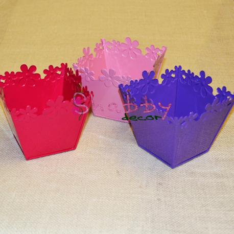 Suport metalic colorat cu model Flori
