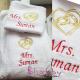 Set Cadou Personalizat Halat si Prosop Mr&Mrs cu Verighete in Inima