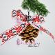 Decor Craciun - Set Globuri Con de Brad Fundita Motiv Traditional rosu