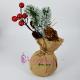 Decoratiune Sarbatori - Saculetul rustic cu Crenguta de Brad si Conuri