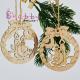 Decor Craciun - Ornament Brad Lemn Glob Decupat cu Fundita si Lumanari