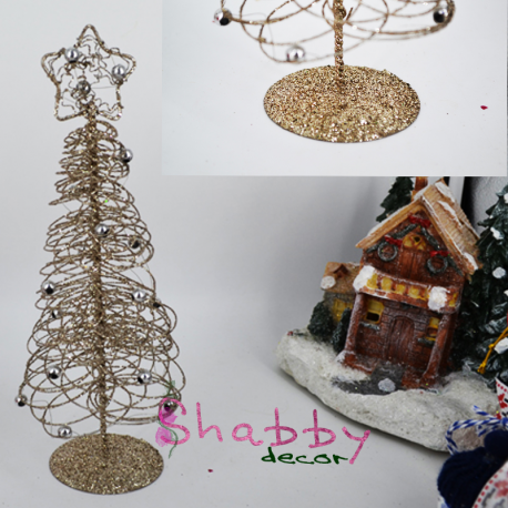 Decor Iarna Bradut artistic din Sarma cu clipici