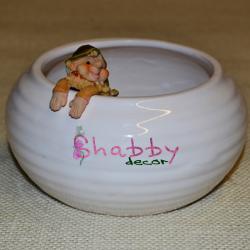 Vas ceramica oval alb Decor