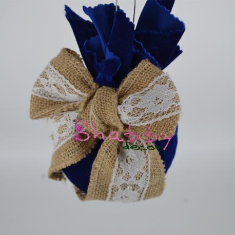 Decor Brad - Set Globuri Rustic-Elegante Catifea Bleumarine Fundita Iuta cu Dantela
