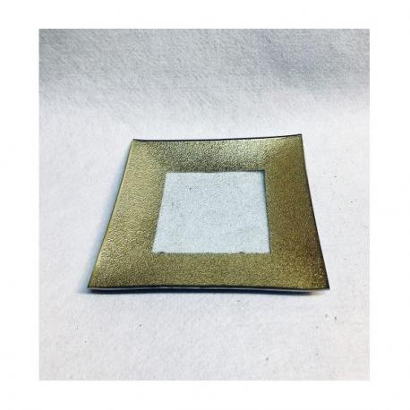 Platou Patrat Sticla Decorativ Auriu 6 buc/set