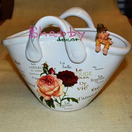 """""""Poseta"""" din ceramica cu model floral shabby chic - Decor"""