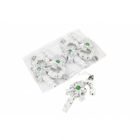 Globulete Elegante Craciun Baston Argintiu 4/Set