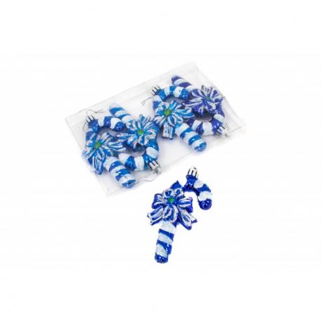 Globulete Elegante Craciun Baston Albastru 4/Set