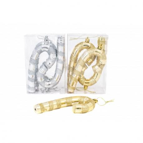 Globulete Craciun Baston auriu sau argintiu 4/Set