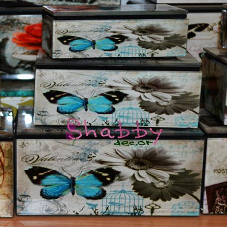 Set 3 cutii bijuterii cu Fluture albastru