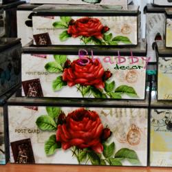 Set 3 cutii bijuterii retro cu Trandafiri rosii