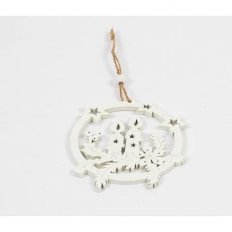 Ornament Brad Glob Lemn cu Lumanari Decupat - Decor Craciun