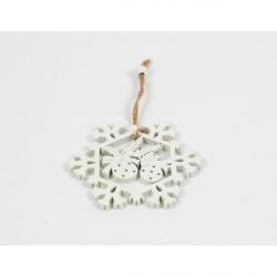 Ornament Brad Glob Lemn Fulg de Nea - Decor Craciun