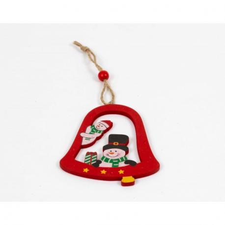 Ornament Brad Glob Lemn Clopotel cu Om de Zapada- Decor Craciun