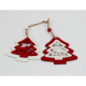 Ornament Brad Glob Lemn Bradut rosu-alb- Decor Craciun