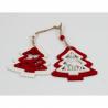 Set Ornament Brad Glob Lemn Bradut rosu-alb- Decor Craciun