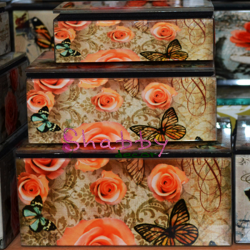 Set 3 cutii bijuterii cu Trandafiri orange si Fluturi