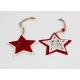 Set Ornament Brad Glob Lemn Steluta cu Fulgi de Nea rosu-alb- Decor Craciun