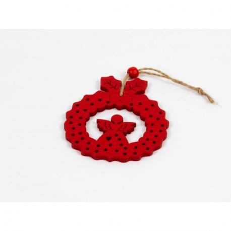 Set Ornament Brad Glob Lemn cu Ingeras rosu - Decor Craciun