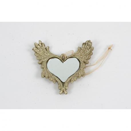 Ornament Ceramica Aripi Inger Aurii cu Oglinda Inima - Decor Craciun