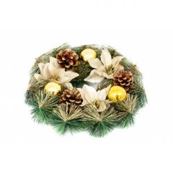 Coronita Usa cu Flori si Globuri aurii - Decor Craciun