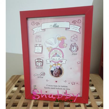 Cadou Personalizat Tablou Bebelus Nou-Nascut Fetita cu Poza