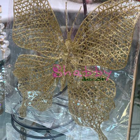 Decoratiune Craciun fluture auriu mare