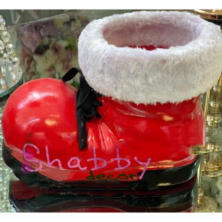 Ghetuta rosie din ceramica cu blanita alba