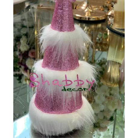 Decoratiune Craciun brad pufos roz