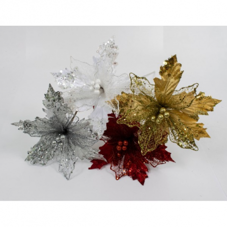 Decoratiune brad Floarea Craciunului Textil Cu Dantelat