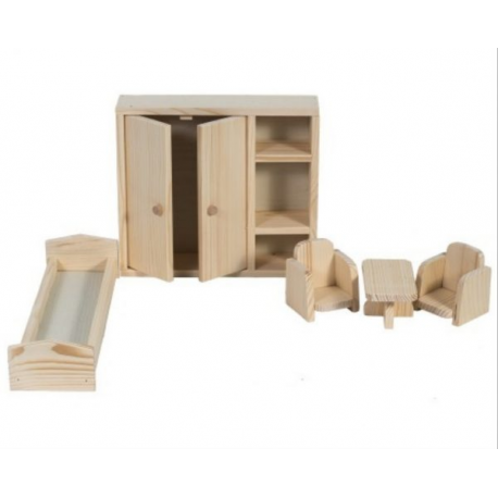 Mobilier casa papusi lemn natur, dormitor