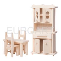 Mobilier de lemn natur pentru papusi -bucatarie