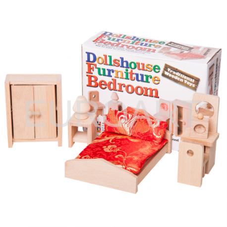 Mobilier dormitor lemn pentru papusi