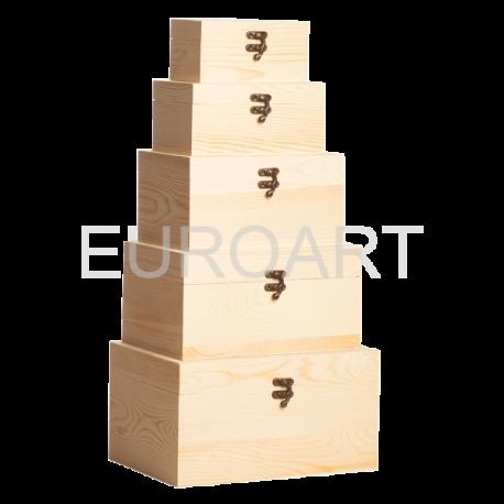 Cutii lemn natur 5/set dreptunghiulare