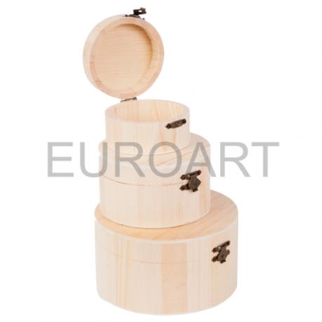 Cutii lemn natur 3/set rotunde
