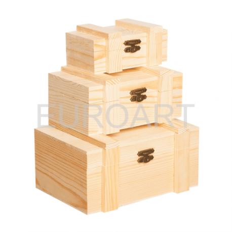 Cutii lemn albe 3/set dreptunghiulare