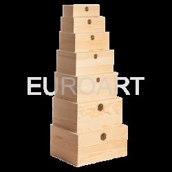 Cutii lemn 7/set dreptunghiulara