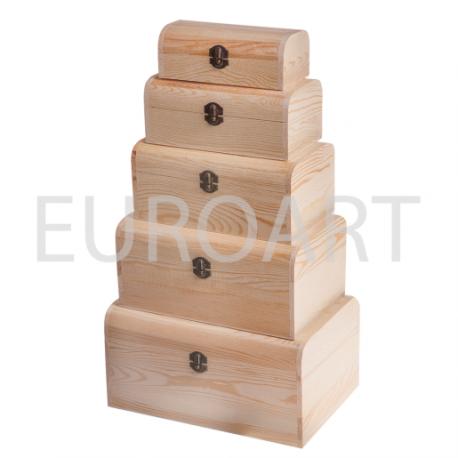 Cutii lemn 5/set dreptunghiulara