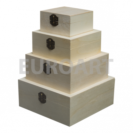 Cutii lemn 4/set