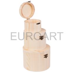 Cutii lemn 3/set rotunda inalta